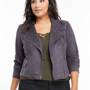 Torrid Suede Asymmetrical Moto Jacket Gray 6